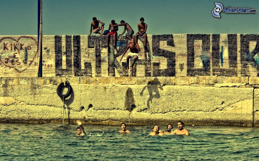 mar, muro, baños
