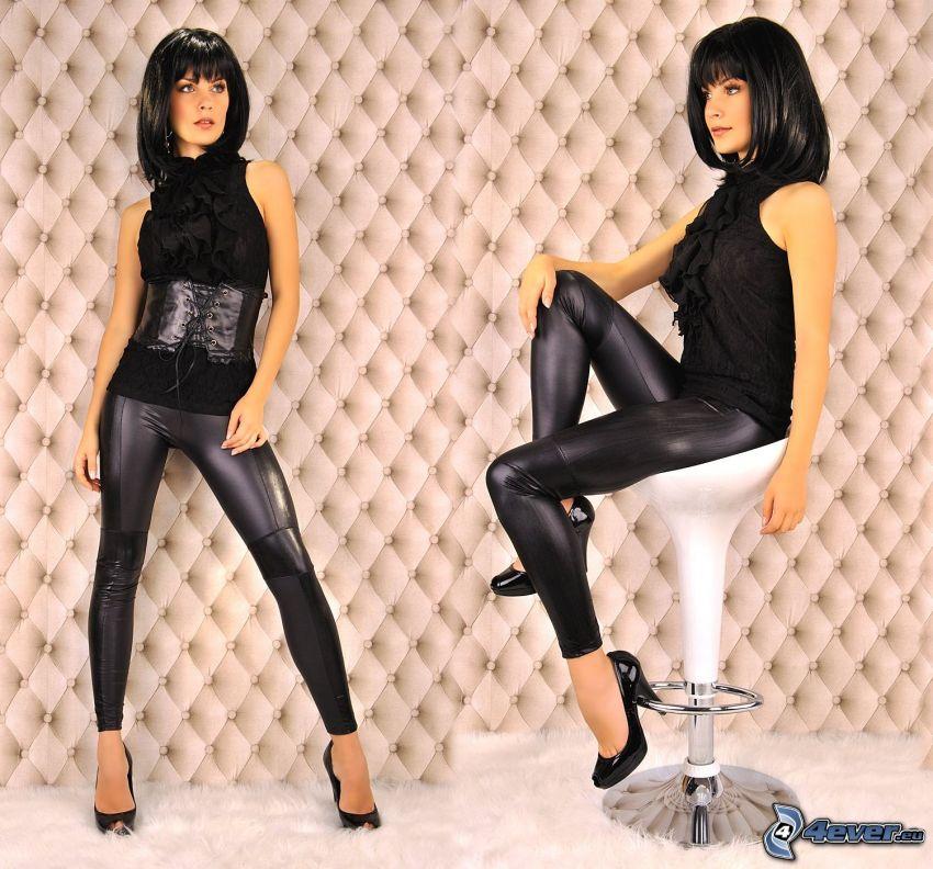 modelo, legins, zapatos con tacón, pelo negro