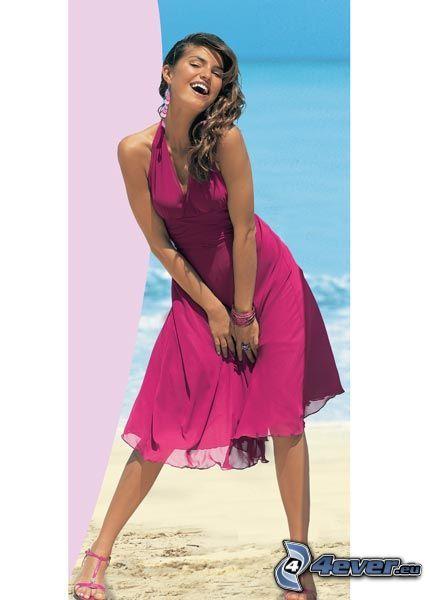 modelo, playa, vestido de color rosa
