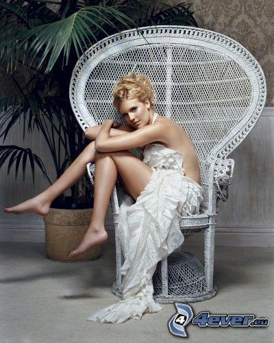 modelo, silla, postura, blanco