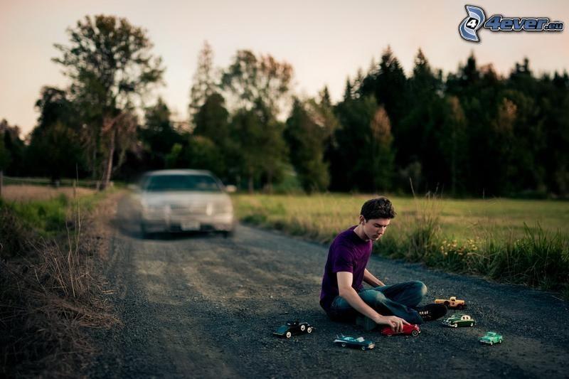 muchacho, coches, camino, coche