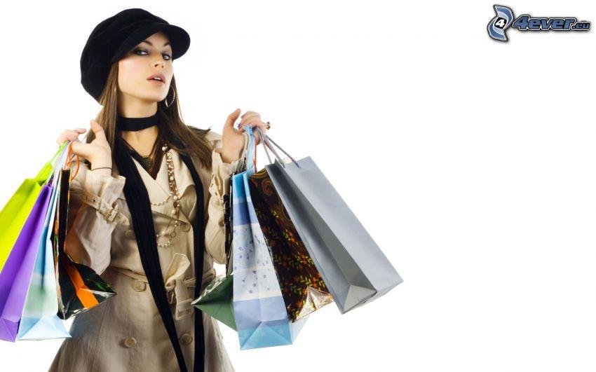 mujer, bolsa, compras