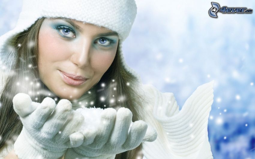 mujer, nieve, gorro, guantes