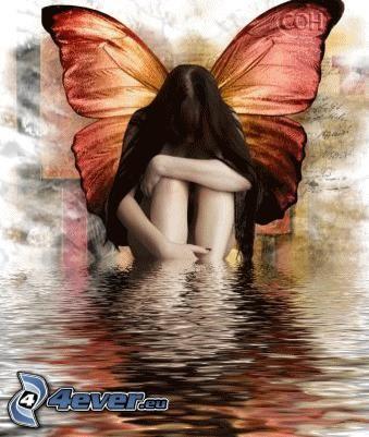 mujer con alas, chica gótica