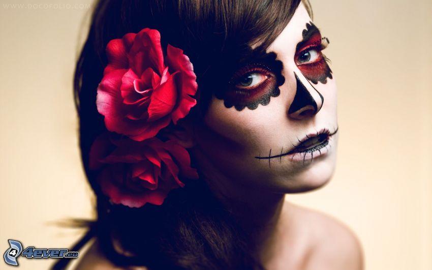 mujer con maquillaje, máscara, rosa