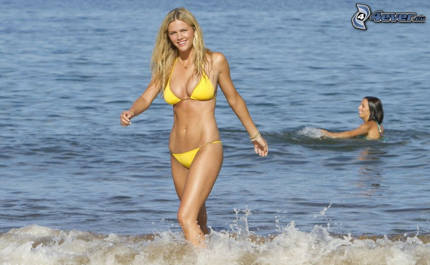 mujer en bikini, mujer en el mar, mar