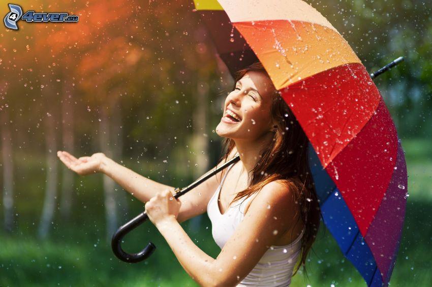 mujer en la lluvia, paraguas
