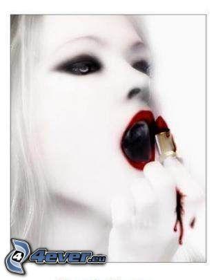 mujer vampiro, pintalabios, labios rojos