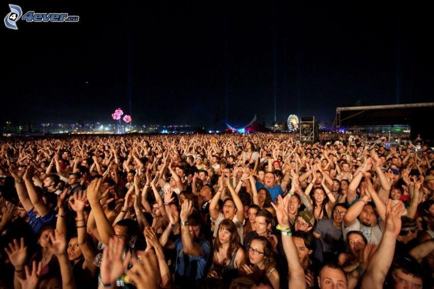 multitud, concierto, noche