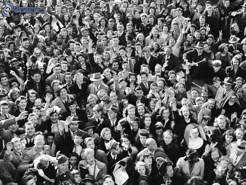 multitud, Foto en blanco y negro