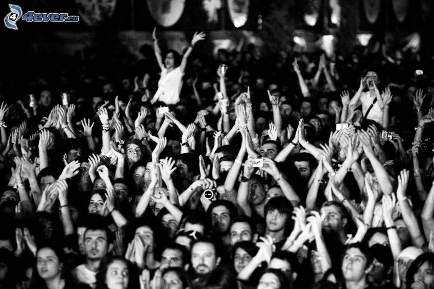 multitud, manos, Foto en blanco y negro