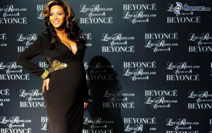 Beyoncé Knowles, vestido negro, mujer embarazada