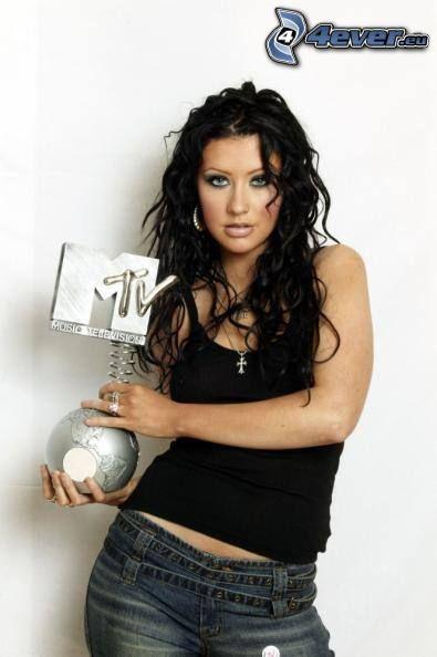 Christina Aguilera, MTV awards, pelo negro