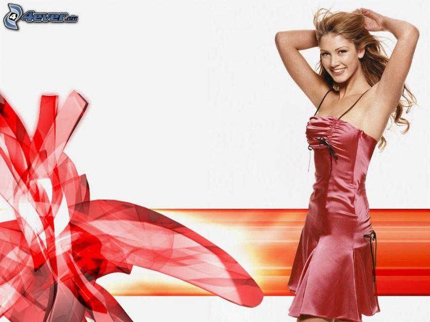 Delta Goodrem, vestido rojo