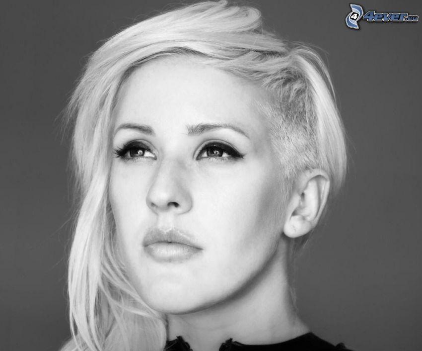 Ellie Goulding, mirada, Foto en blanco y negro