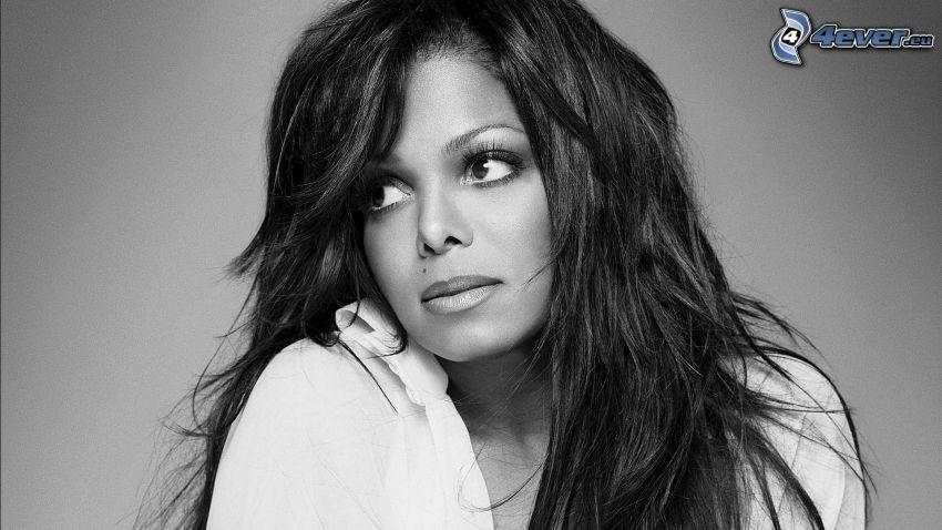 Janet Jackson, mirada, Foto en blanco y negro