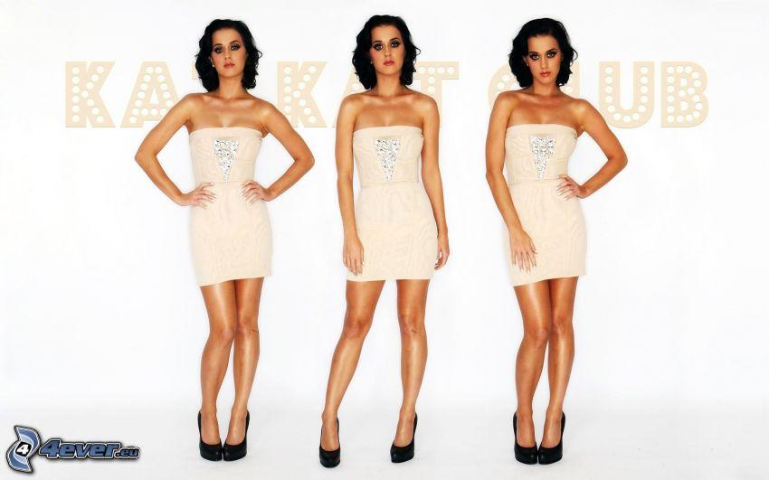 Katy Perry, vestido beige
