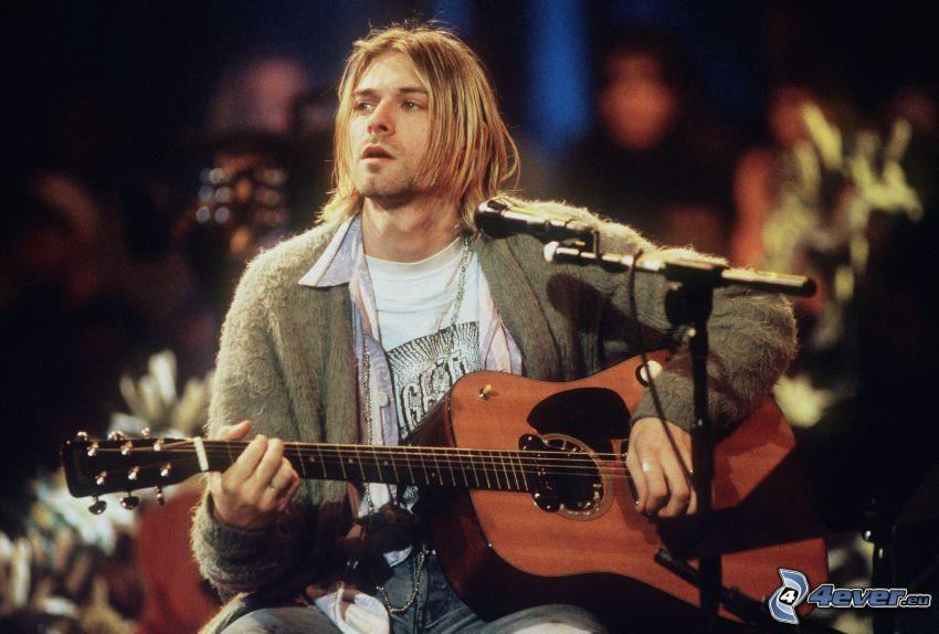 Kurt Cobain, guitarra, micrófono, concierto