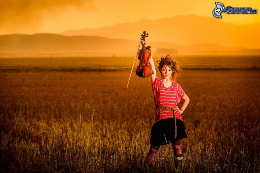 Lindsey Stirling, violinista, violín, campo