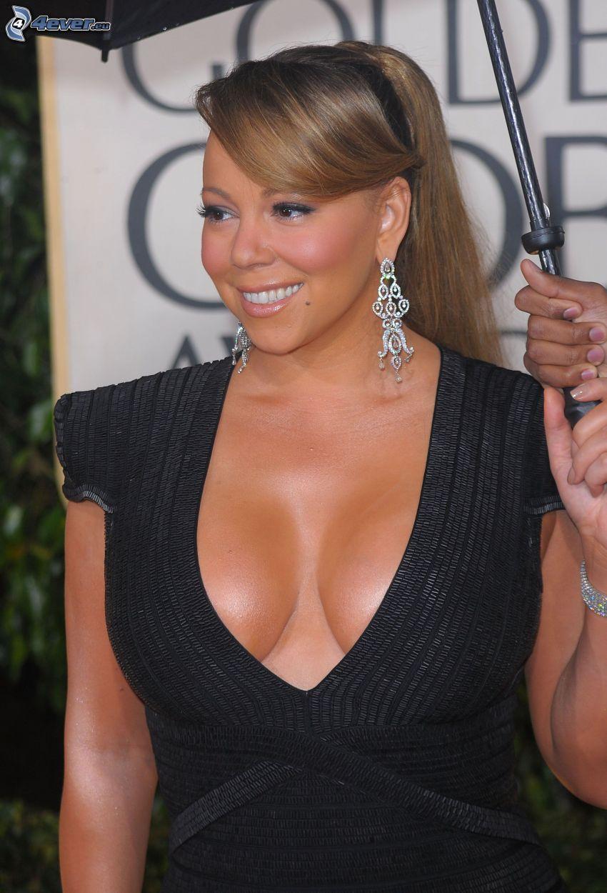 Mariah Carrey, vestido negro, sonrisa, sombrilla