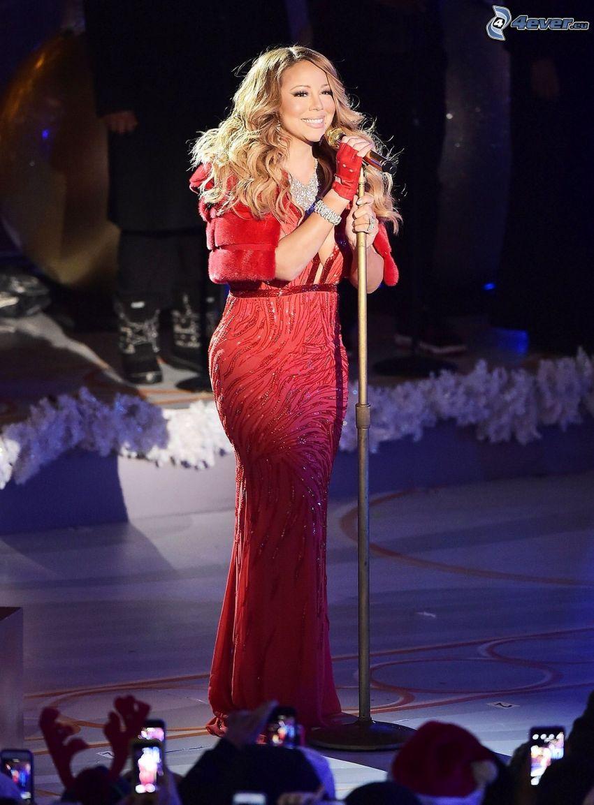 Mariah Carrey, vestido rojo, sonrisa, apariencia