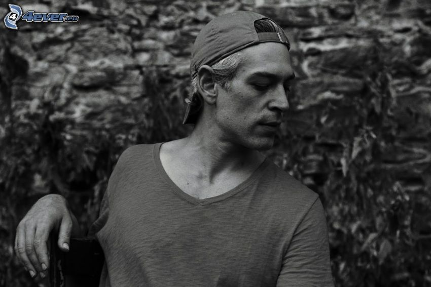 Matisyahu, gorro, Foto en blanco y negro