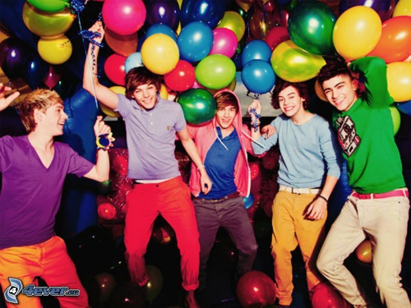 One Direction, Louis Tomlinson, Liam Payne, Niall Horan, Harry Styles, Zayn Malik, globos