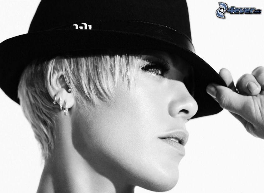 Pink, sombrero, Foto en blanco y negro