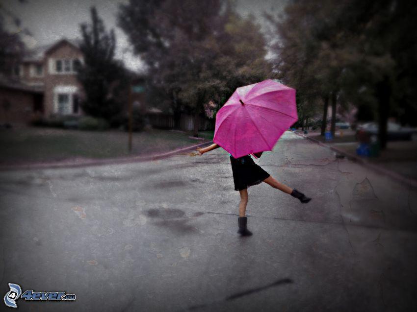 niña con paraguas, camino, calle