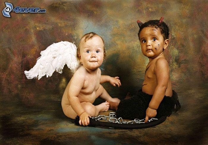 ángel y diablo, niños