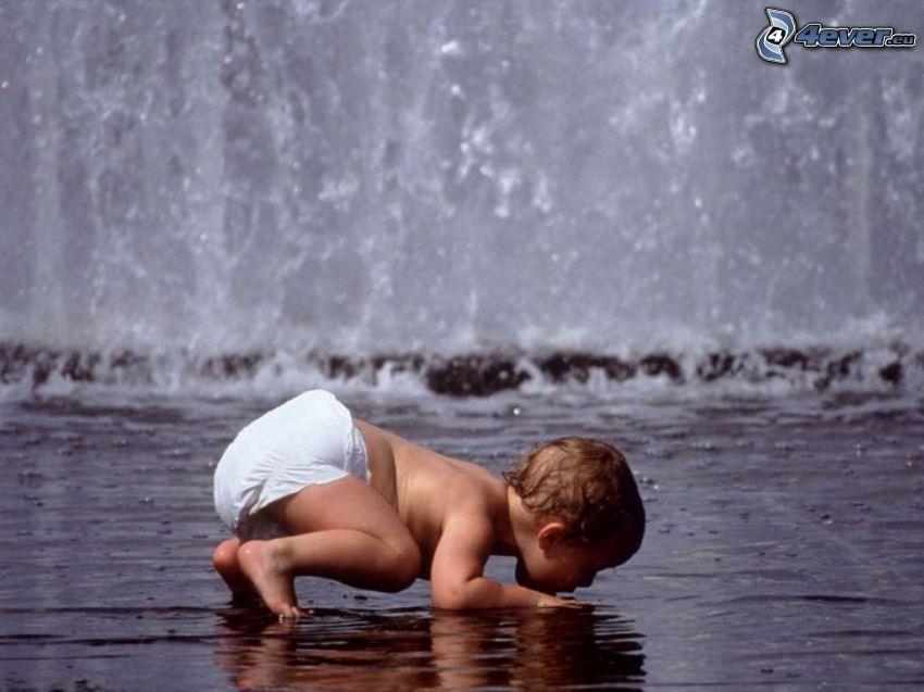 bebé, agua