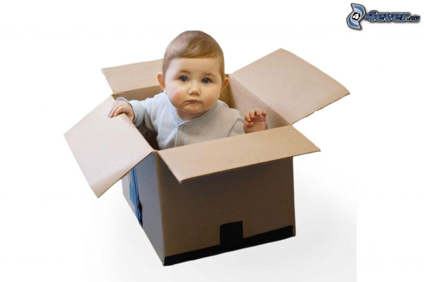 bebé, caja