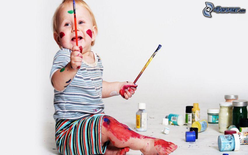 bebé, colores, pinceles