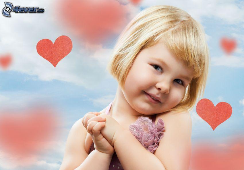 bebé, corazones