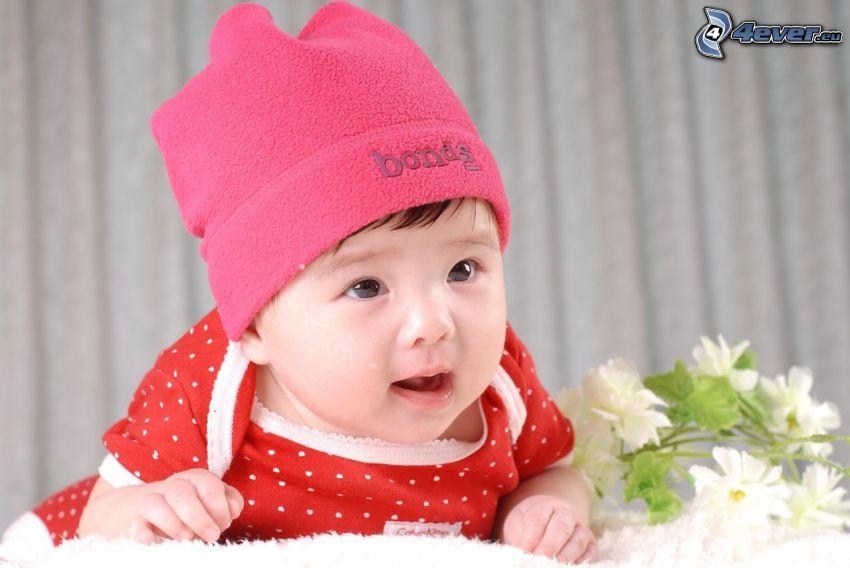 bebé, gorro, flores blancas
