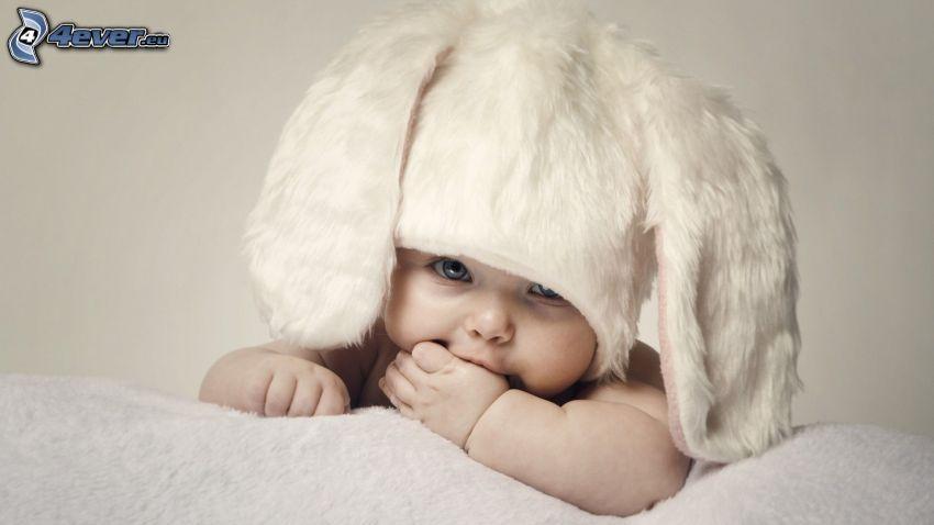 bebé, gorro, vestuario de liebre