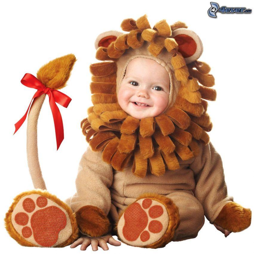 bebé, león, traje
