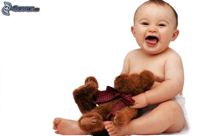 bebé, oso de peluche, risa