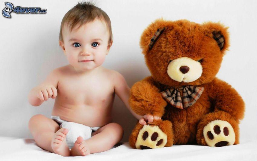 bebé, oso de peluche