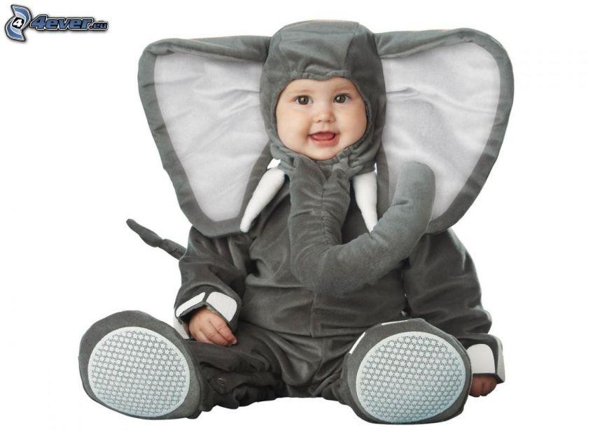 bebé, traje, elefante
