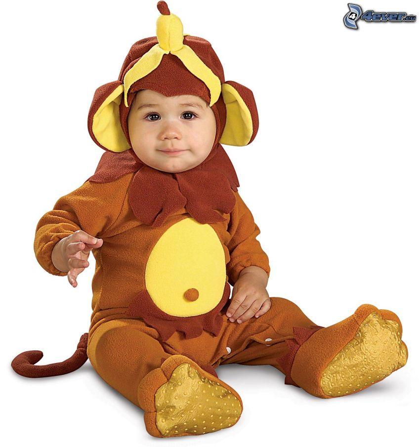 bebé, traje, mono