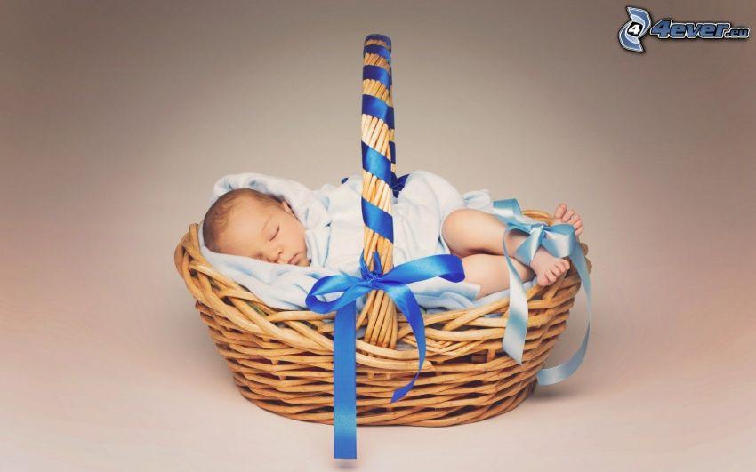 bebé durmiendo, bebé, cesta, cinta