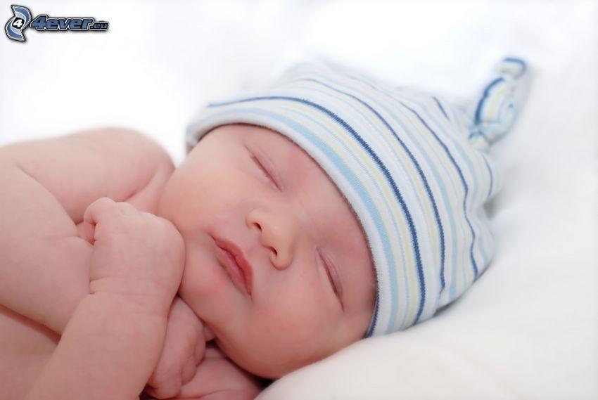 bebé durmiendo, gorro