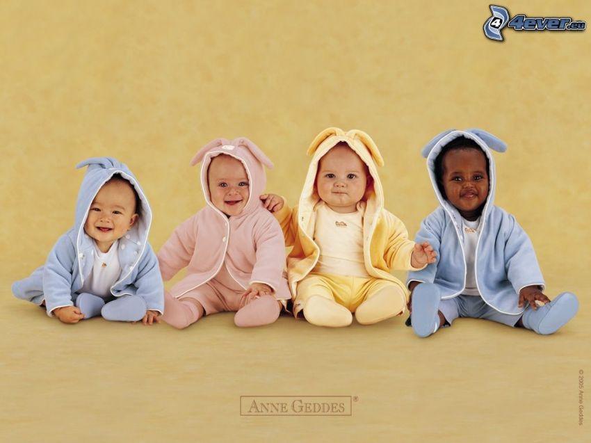 bebés, niños, bata