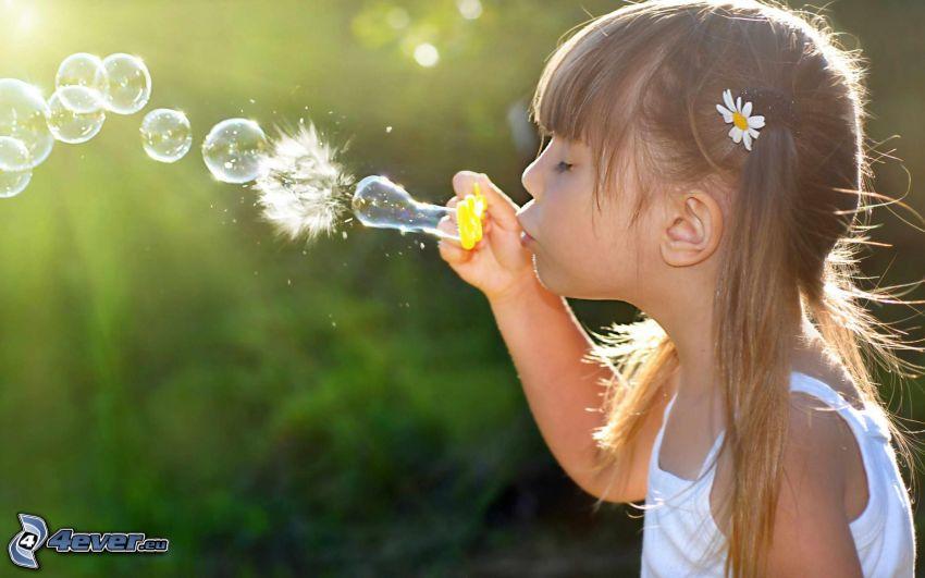 chica, burbujas, pompas de jabón