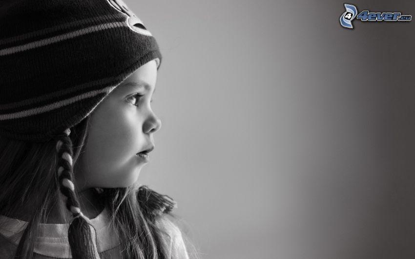 chica, gorro, Foto en blanco y negro