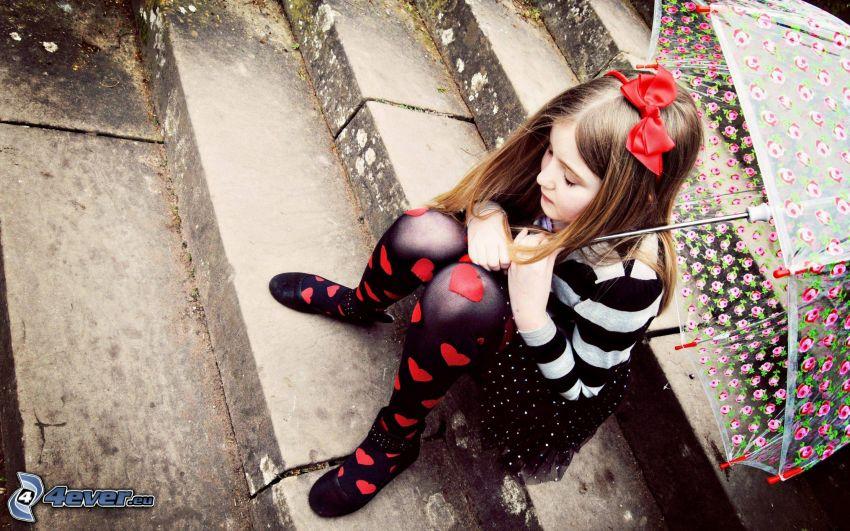 chica triste, paraguas, escalera