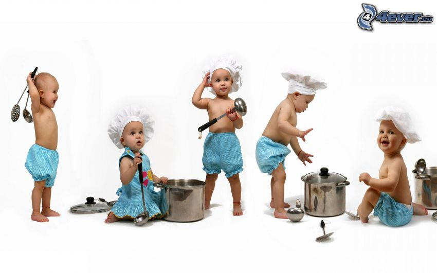 cocineros, bebés, olla, cuchara, gorro