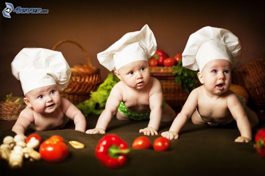 cocineros, bebés, verduras
