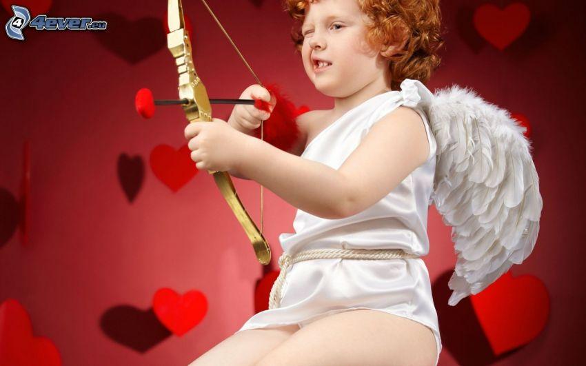Cupido, arco, niño pequeño, corazones